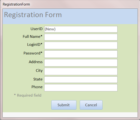 how to create registration form