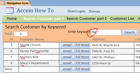 Create Access Search Form by Keyword - iAccessWorld.com