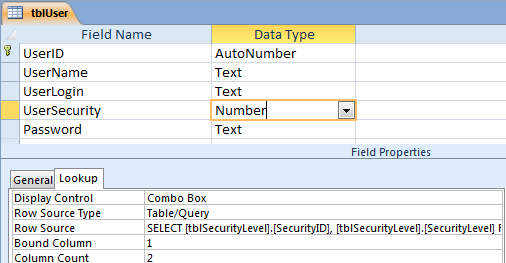 Create security level in access for Table design ms access