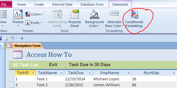 Conditional Formatting for Subform or Datasheet Form