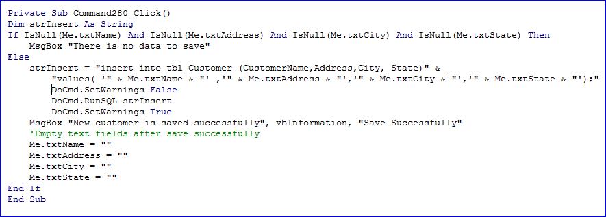 code for insert