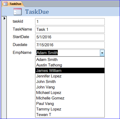 How to Create Lookup Field in Table for MS Access