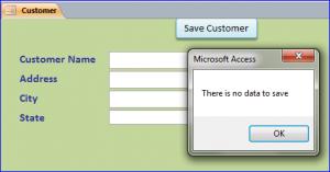 no data to save