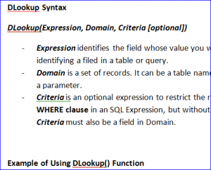 How to Use DLookup Function - iAccessWorld com