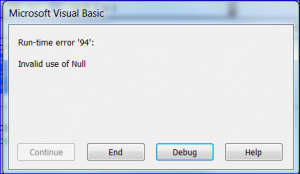 result error for null