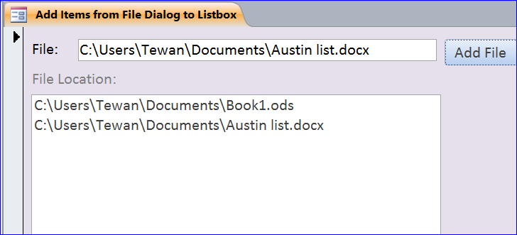 How to Add Items from File Dialog to Listbox