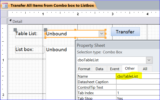 How to Transfer Items from Combobox to Listbox