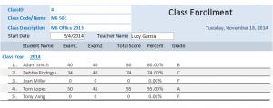 class enroll report
