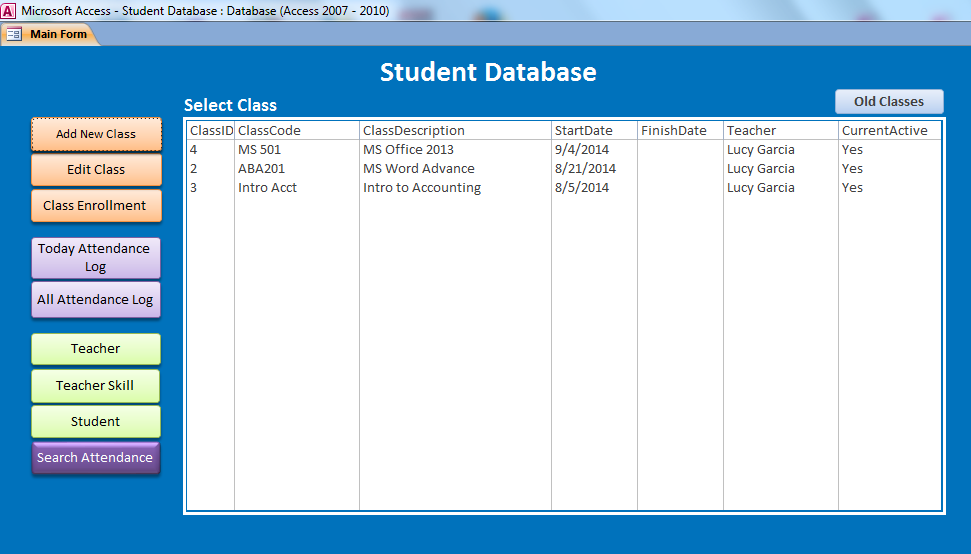 Student Database -MS Access - iAccessWorld com