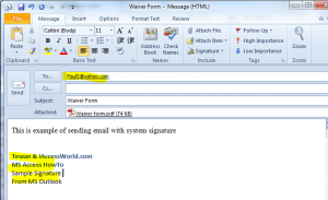 attach sig in Outlook
