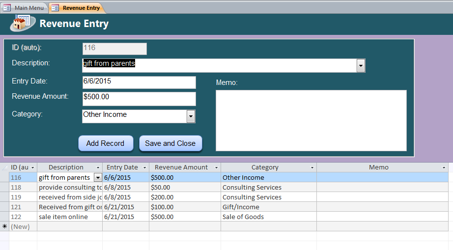 Business Account Ledger