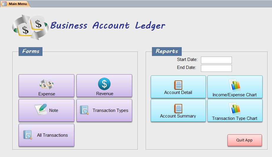 Business Account Ledger – Business Ledger Example