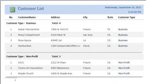 report for integer list box