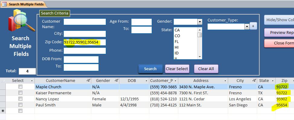 Search Multiple Fields - iAccessWorld com