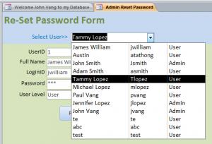 admin reset password