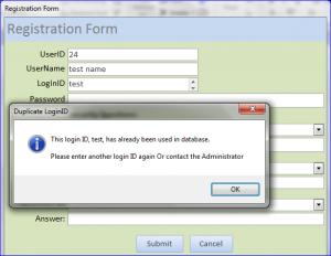 registration form duplicate