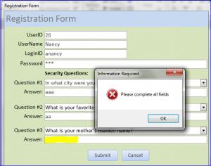 registration not complete