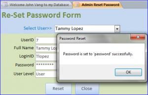 reset password by admin
