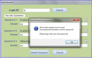 reset password correct answer