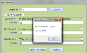 reset password wrong login