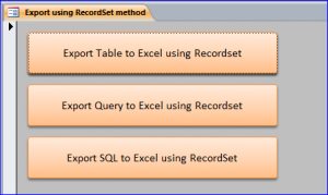 export to excel using recordset
