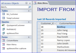 table for no duplicate import from excel
