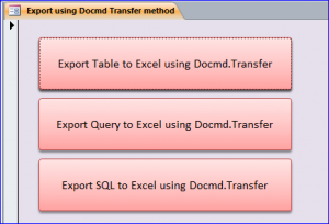 transfer to excel