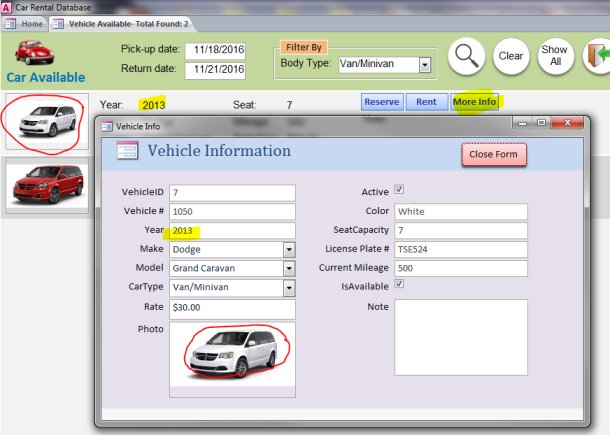 MS Access: Car Rental Database - iAccessWorld com