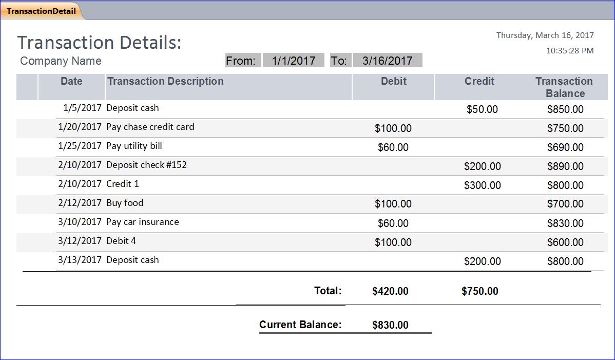 Bank transaction database example